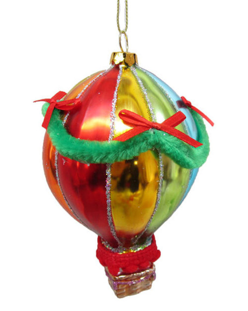 Rainbow Colors Hot Air Balloon Christmas Holiday Ornament Glass