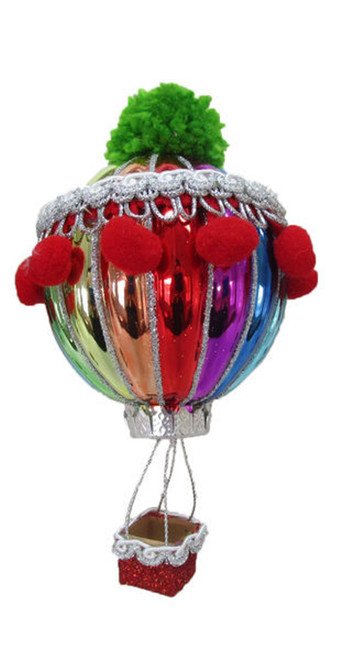 Rainbow Balloon Green and Red Pom Poms Christmas Holiday Ornament Glass