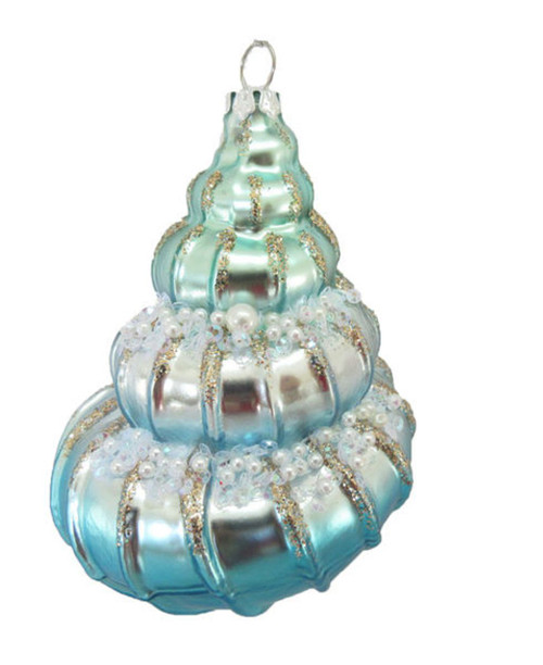 Jeweled Conch Shell Christmas Holiday Ornament Glass
