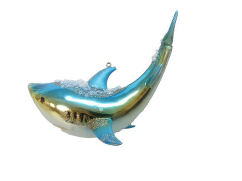 Blue Shark with Jewels Christmas Holiday Ornament Glass