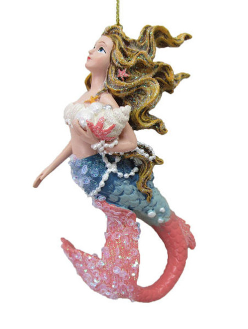 Pink and Blue Mermaid Holding Shells and Pearls Christmas Holiday Ornament Resin
