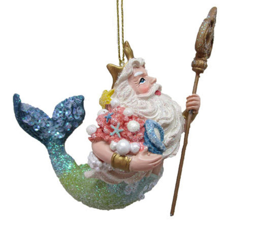 King Neptune with Staff Christmas Holiday Ornament Resin