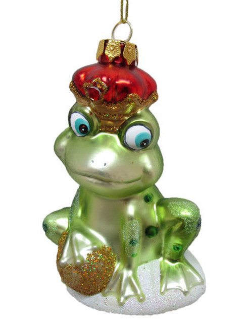Green Frog Prince with Crown Christmas Holiday Ornament Glass