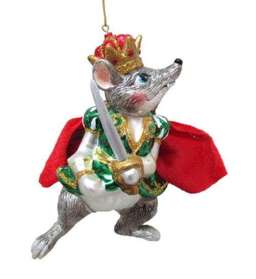 Mouse King with Sword and Cape Christmas Holiday Ornament Glass