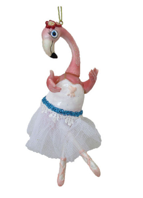 Ballerina Flamingo in White Tutu Christmas Holiday Ornament