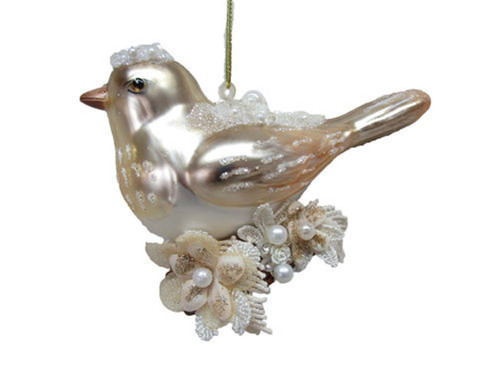 Pretty Song Bird with Pearl Flower Christmas Holiday Ornament