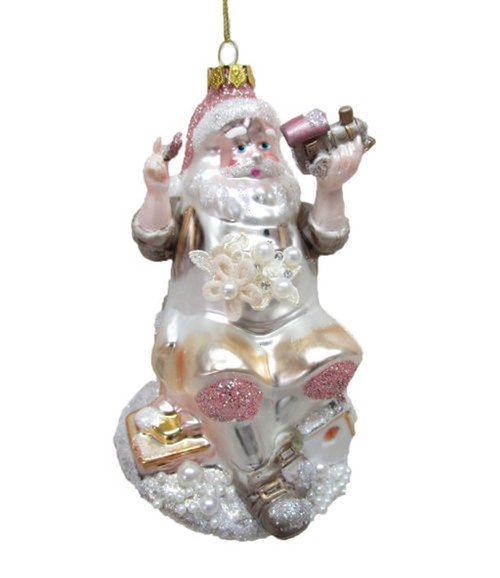 Santa Making A Toy Christmas Holiday Ornament Glass