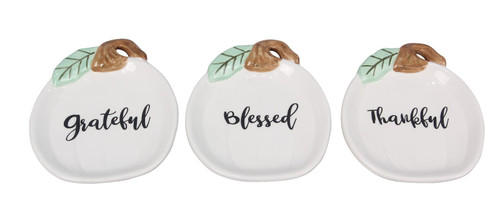 Thankful Grateful Blessed White Pumpkins Fall Trinket Dishes Set of 3 Ceramic