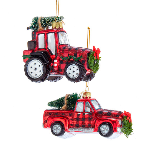 Noble Gems Red Plaid Truck and Tractor Christmas Holiday Ornaments Set of 2