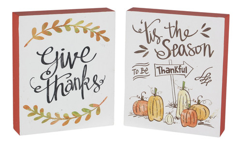 Give Thanks Tis Season to be Be Thankful Fall Chunky Shelf Sitters Set of 2 Wood