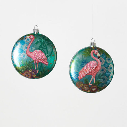 Flamingo Round Disc Christmas Holiday Ornaments Set of 2 Glass