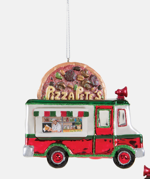 Pizza Food Truck Christmas Holiday Ornament 4.25 Inches Glass