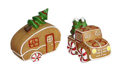 Gingerbread Cookie Shaped Camper and Truck Set of 2 Tabletop Figurines Resin