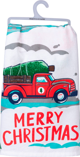 Pickup Truck and Holiday Tree Merry Christmas Kitchen Dish Towel