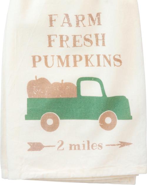 Farm Fresh Pumpkins Green Pickup Truck Kitchen Dish Towel