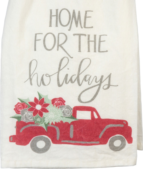 Home for the Holidays Red Pickup Truck Kitchen Dish Towel