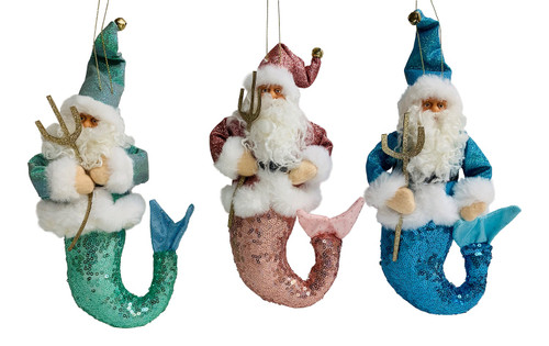Santa Mermen Plush Blue Pink And Green Christmas Holiday Ornaments Set Of 3
