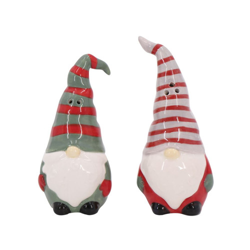 Red and Green Holiday Gnomes Salt and Pepper Shaker Set