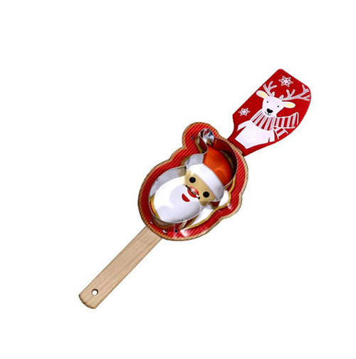 Reindeer Spatula With Santa Cookie Cutter Holiday Kitchen Baking