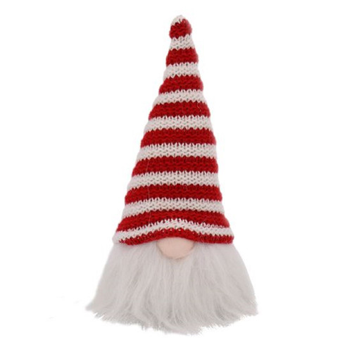 Red and White Stripes Knited Hat Gnome Holiday Tabletop Figurine