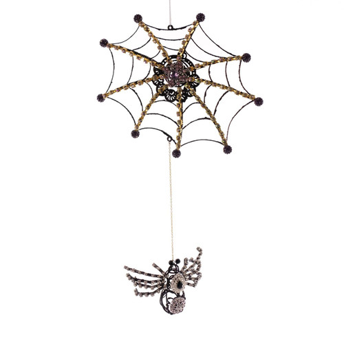 Katherine's Collection Jeweled Spider With Web Halloween Ornament 12 Inches