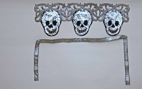 Katherine's Scroll Skeletons Sequined Halloween Fabric Wall Bunting 38 Inches