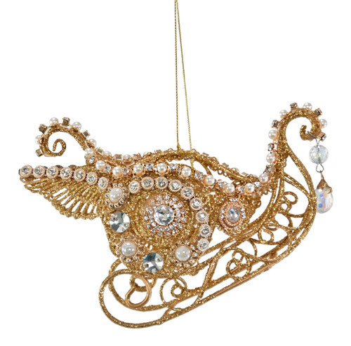 Katherine's Collection Jeweled Golden Swan Sleigh Christmas Holiday Ornament