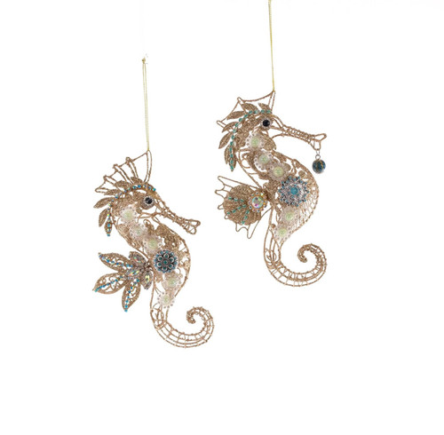 Katherine's Collection Jeweled Seahorses Christmas Holiday Ornaments Set of 2