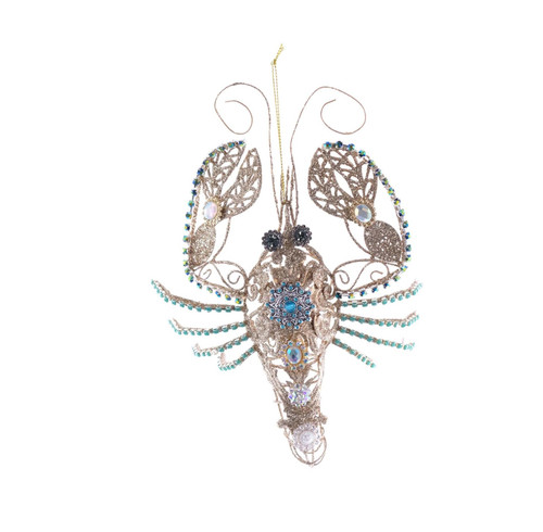 Katherine's Collection Golden Jeweled Lobster Christmas Holiday Ornament
