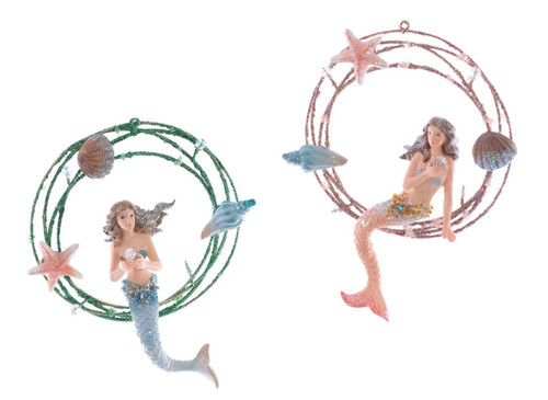 Katherine's Collection Mermaids Coral Swing Christmas Holiday Ornaments Set of 2