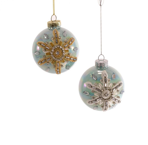 Jewel Starfish Sea Bauble Silver Gold Teal Christmas Holiday Ornaments Set of 2
