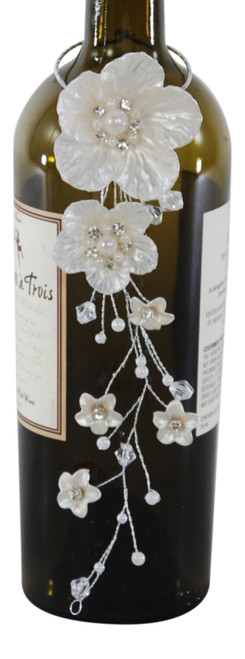 Katherine's Collection Winter Magnolia Flowers Wine Bottle Tag