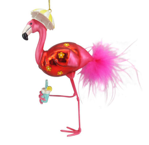 Flamingo Wearing Umbrella Hat Christmas Holiday Ornament Glass
