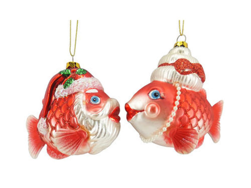 Mr and Mrs Santa Fish Christmas Holiday Ornament Set of 2 Glass
