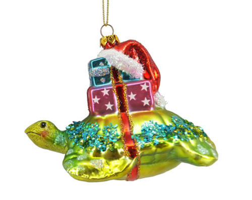 Sea Turtle with Gifts and Santa Hat Christmas Holiday Ornament Glass