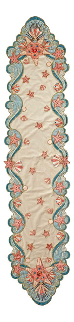 Treasures of the Sea Teal Pink Christmas Holiday Dining Table Runner 74  Inches