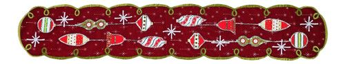 Mistletoe and Shiny Ornaments Christmas Holiday Dining Table Runner 76 Inches