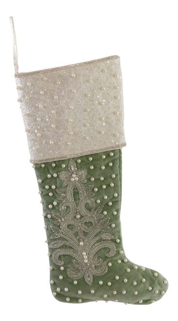 Katherine's Collection Green Peace On Earth Jeweled Christmas Holiday Stocking