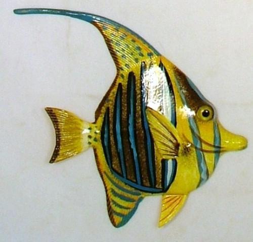 Big 12 Inch Striped Tropical Fish Tiki Sea Life Bath Wall Decor 12TFW40A