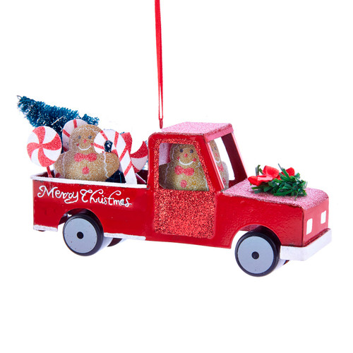 Gingerbread and Candy Canes Red Pickup Truck Christmas Holiday Ornament