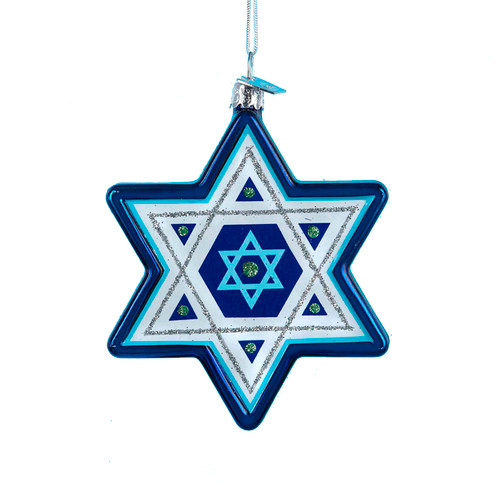 Noble Gems Hanukkah Star of David Holiday Ornament Glass
