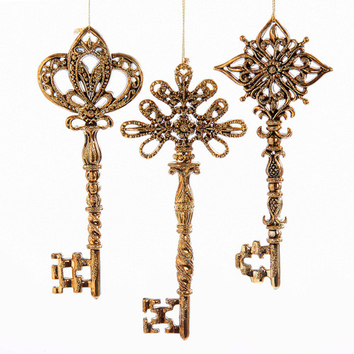 Golden Keys Glittery Chirstmas Holiday Ornaments Set of 3