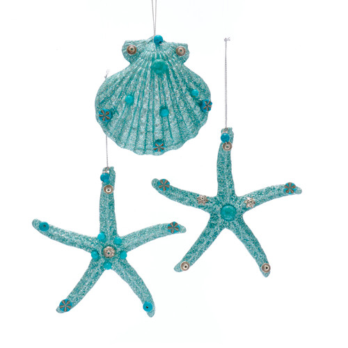 Teal Blue Starfish and Seashell Christmas Holiday Ornaments Set of 3
