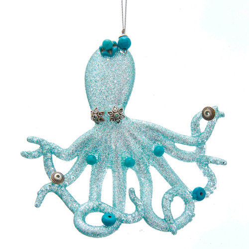Blue Octopus with Glitter Silver Beads Christmas Holiday Ornament 4.25 Inches