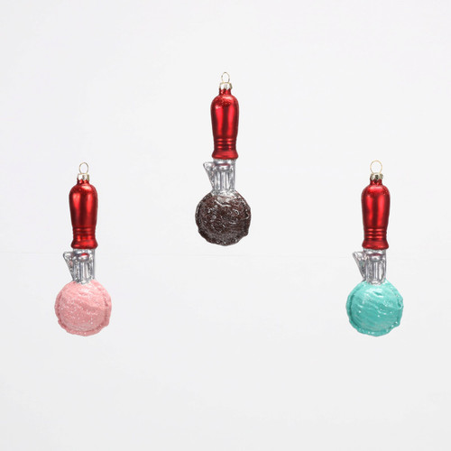 Ice Cream Scoops Favorite Flavors Christmas Holiday Ornaments Set of 3