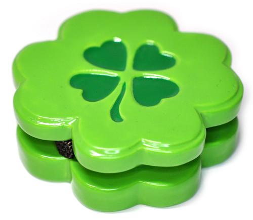 Lucky Four Leaf Clover Porcelain Hinged Trinket Box