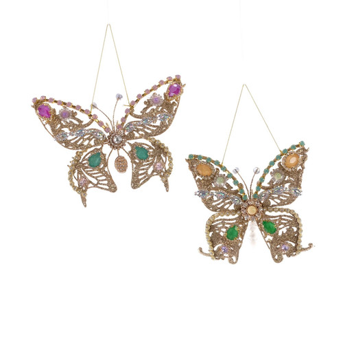 Katherine's Collection Jeweled Butterflies Christmas Holiday Ornaments Set of 2