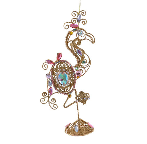 Katherines Collection Jeweled Golden Flamingo Tier Tray Tabletop Figurine 7 Inch