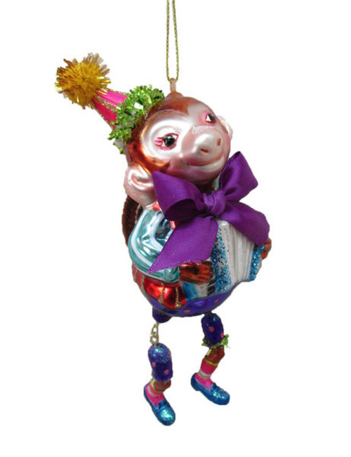 Circus Monkey with Purple Bow Christmas Holiday Ornament Glass