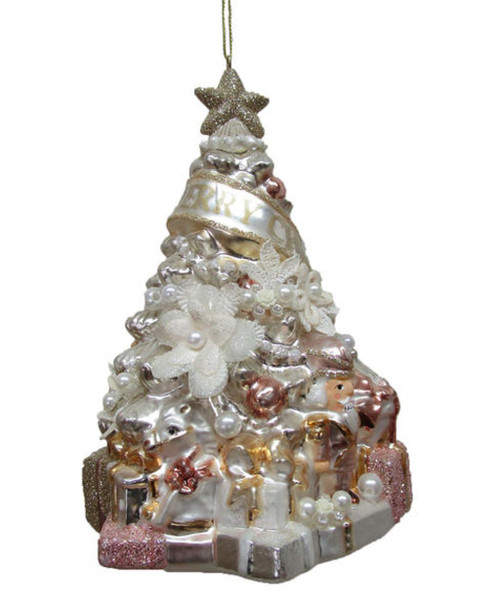 Blush Christmas Tree with Flowers Christmas Holiday Ornament Glass